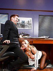 Office bitch Alix Lynx gets her big boobs and mouth fucked by her boss