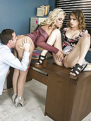 Two kinky milfs attack cock of their horny boss with mouths in the office