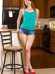 Tight teen amateur Zoey Laine removes her panties to stretch her luscious twat