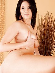 Glorious fatty takes off her undies showing her hairy kitty and small tits
