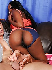 Black amateur Nina Devon finishing sex acts with footjob