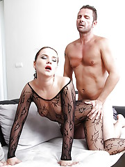 Euro chick Wendy Moon dripping sperm from mouth after hardcore fuck session