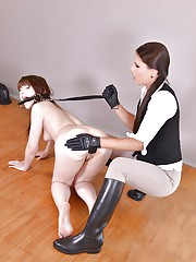 Euro chicks Luna Rival and Brandy Smile engage in pony girl training