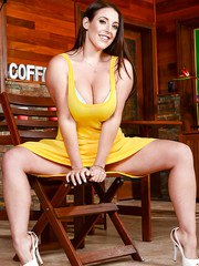 Chubby MILF Angela White taking off her clothes in public coffee house