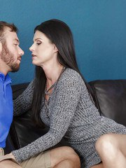 Dark haired cougar India Summer seducing younger guy with huge dick