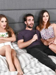 Lucky guy enjoys Hope Howell and Kimmy Granger throating his big cock