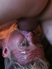 Aged woman Scarla Swallows deepthroating cock during messiest face fuck
