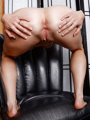 Mature office chick tales off her transparent panties to reveal her pink cave