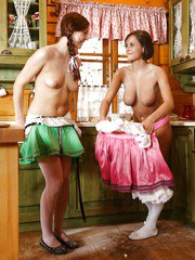 Young lesbian Morgan R and gf strip off dresses for messy kitchen sex
