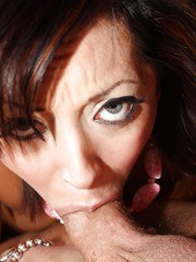 Pretty Latina female Audrianna Angel dripping jizz from mouth after deepthroat