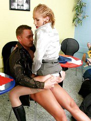 Office bitches seduce a horny customer and play a CFNM action swallowing cum