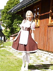 Swiss farm girl Karol Lilien toying pussy on lawn in pigtails