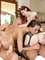 Voluptuous European babes in stockings go hardcore in a groupsex action