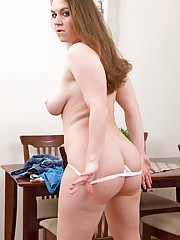 Curvy mom Eden peeling off short skirt and white panties to model nude