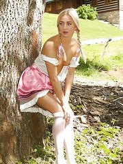 Barely legal blonde Cayla A pulling down hose to masturbate underneath tree