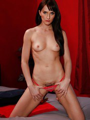 Dark haired mom Bianca Breeze showing off hairy muff after removing pretties