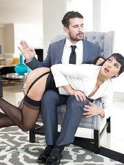 Dark haired Latina MILF Mercedes Carrera gets spanked during rough sex games
