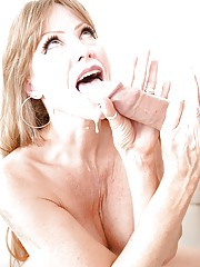 Middle aged broad Darla Crane sucking off younger guy thats hung like a horse