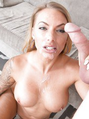 Latina MILF Juelz Ventura using her cock sucking skills to please a big cock