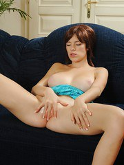 Solo girl with perfect all natural tits fingering her wet pussy to orgasm