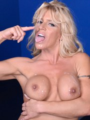Fir mature chick with big bouncing boobs Gina West gets tits covered with jizz