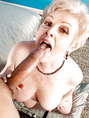 Naked granny Jewel giving a huge cock oral sex pleasures beyond comapre