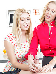 Clothed mom Julia Ann teaches teen girl Natalia Starr how to suck cock