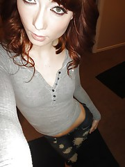 Skinny redhead ex-girlfriend Zoe Voss taking selfies while taking off clothes
