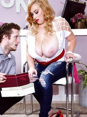 Mya Blair sucks young cock then shakes it up the pussy and between the tits