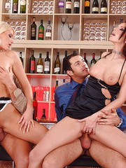 Horny moms Gabriela  Marsha Lord take it in ass and pussy during foursome