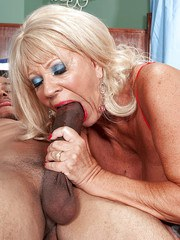 Hot blonde granny Mandi McGraw getting ass fucked by a black man