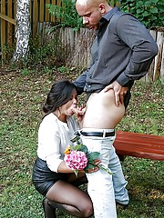 Clothed MILF Kara Magic rips open hose for sex on park bench with stranger
