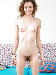 Skinny amateur Victoria J finger fucking hairy pussy after panty removal