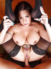 Chesty brunette MILF Sheridan Love finishes off a fuck session with titjob