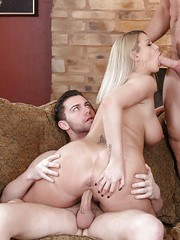 Busty MILF Brooklyn Chase fucks one cock while sucking another in MMF 3some