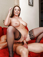 Brunette beauty Angela White seducing anal sex and offers big tits for cumshot