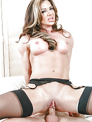 Hot cougar Nina Dolci seducing her sons best friend in skirt and nylons