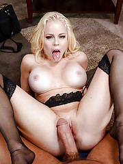 Busty blonde Nikki Delano takes a mouthful of jizz after hard ass fucking