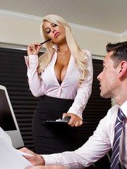 Blonde bombshell of a secretary Bridgette B seducing her boss in skirt