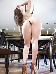 Coed cutie Abella Danger removing skirt and onesie to model naked