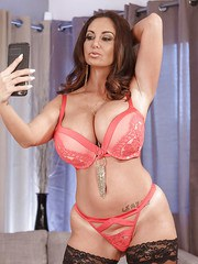 Busty wife Ava Addams takes selfies while dressing herself in lingerie  skirt