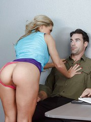 Sexy MILF Cherie DeVille seducing man at work and sucking his dick dry