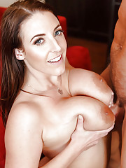 Big tit Angela White removes lingerie to get steamy with a hot male