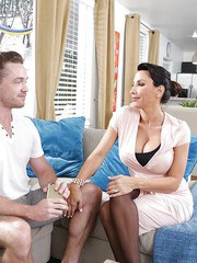 Intense sex with the step son for brunette MILF with big tits Lezley Zen
