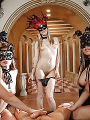 Masked bitches sharing the white cock in sloppy group scenes