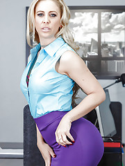 Astounding MILF with perfect body Cherie DeVille serious solo in the office