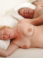 Older fat amateur Angeline having hairy pussy fingered and fucked by husband