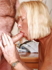 Amateur granny with blonde hair Angeline sucking some cock like a goddess