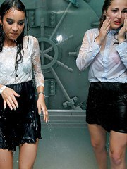 Party girls in same outfits get soaked thanks to a ships sprinkler system