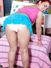 Pretty hot Latina teen Lexi Vex removes her whote panties to expose her pussy